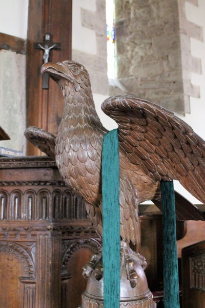 Wooden lectern in the shape of an eagle