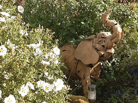 Sculpture of an elephant and white flowers