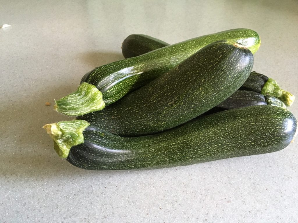 Five courgettes