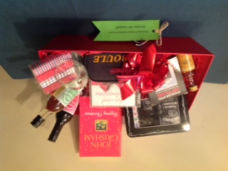 Hamper with gifts for a man inlcuding a whisky flask