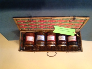 Six jars of home-made preserves