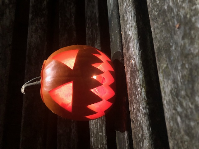 Carved pumpkin with light inside