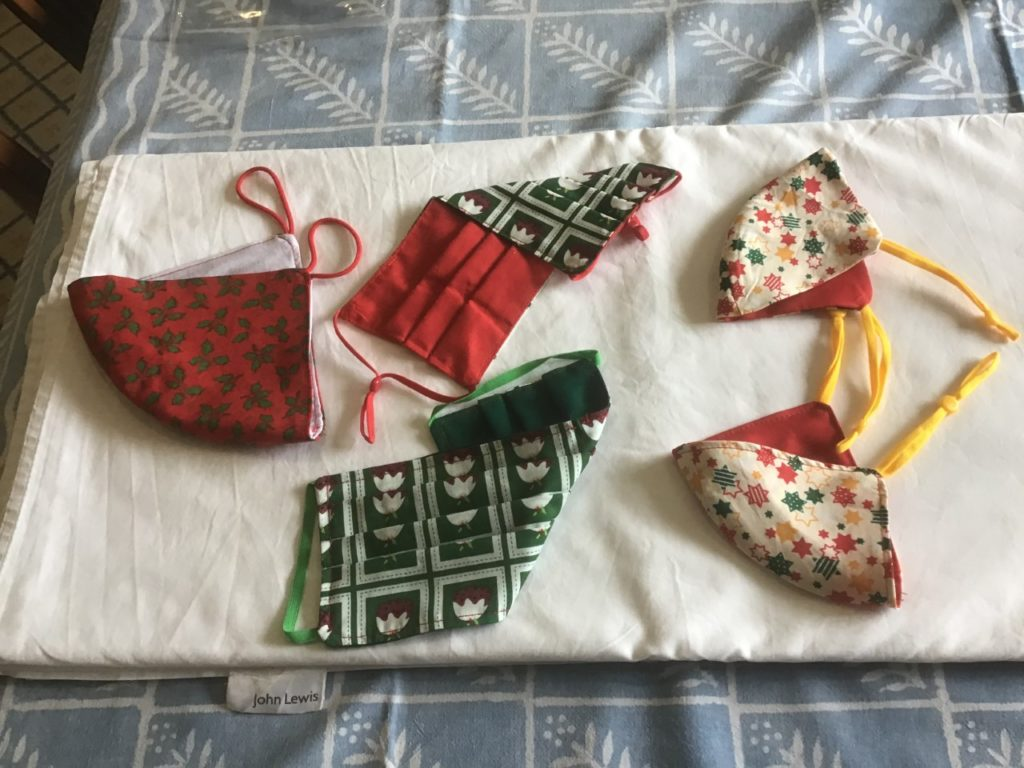 Handmade facemasks with Christmas designs