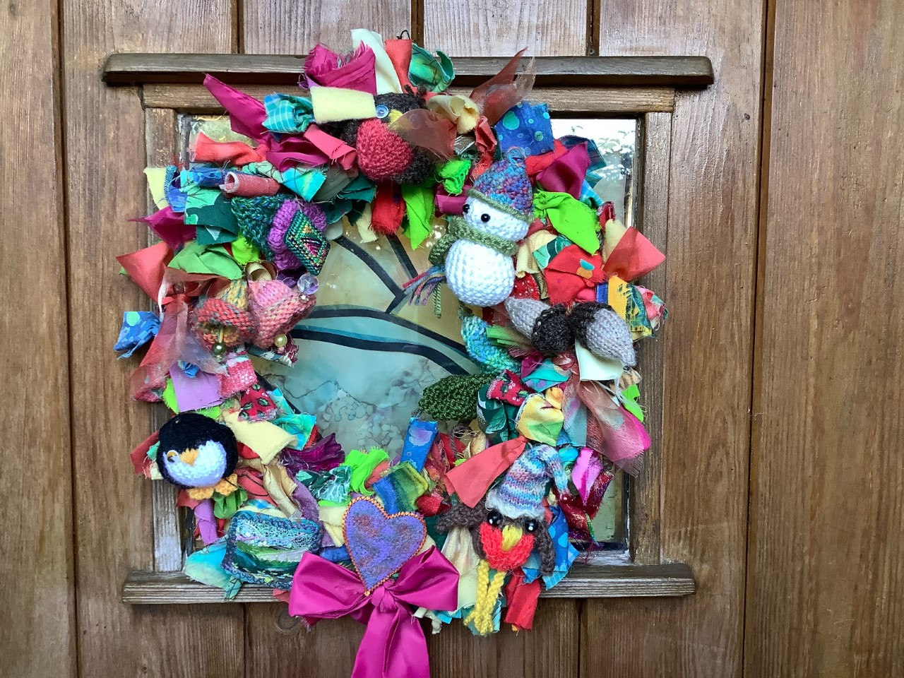 Christmas wreath made up of recycled materials