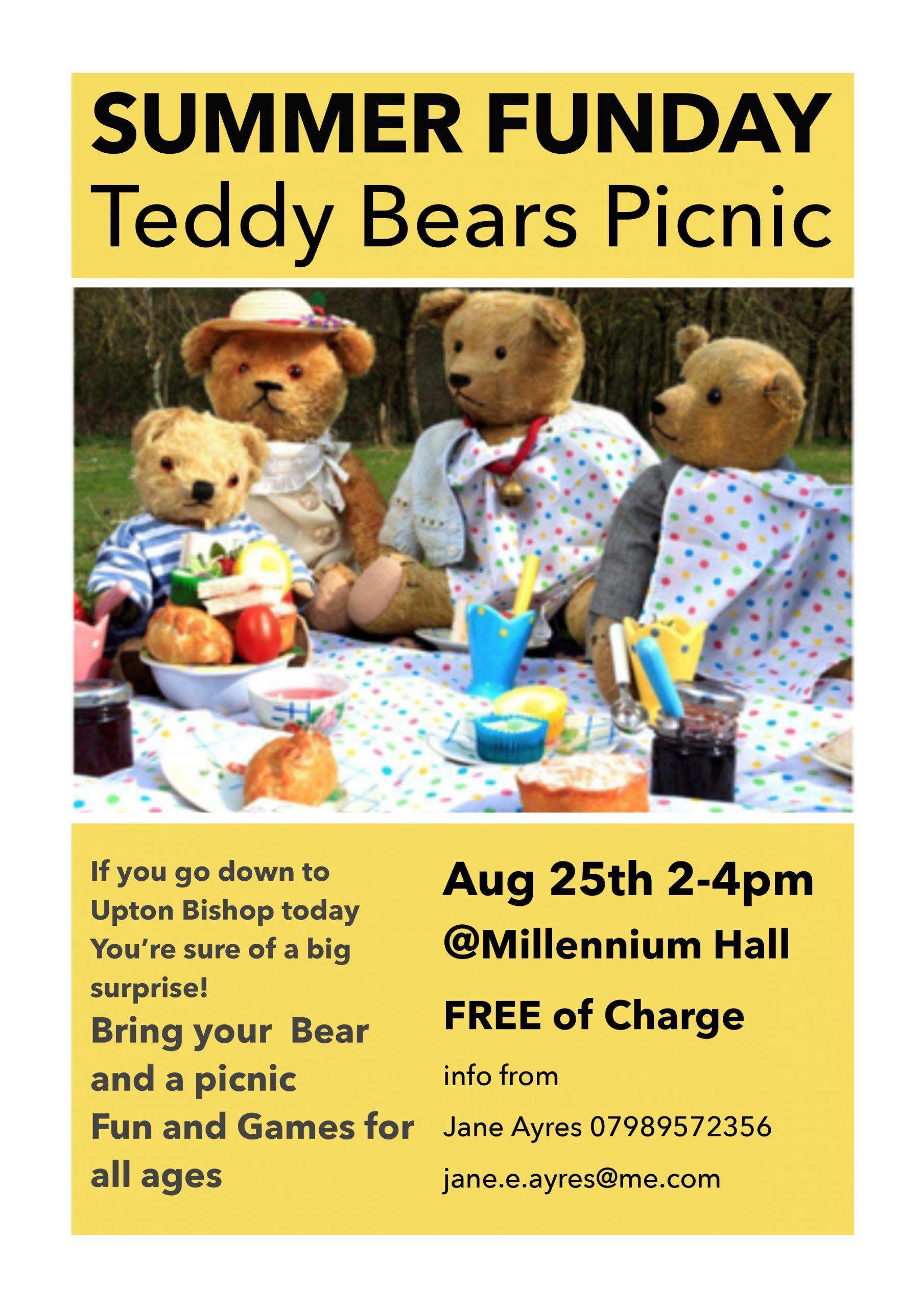 Poster advertising the teddy bears picnic